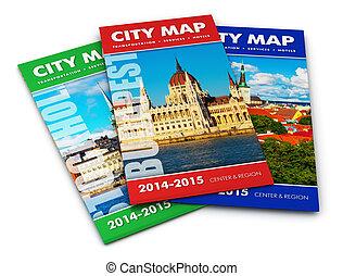 město, turista, mapy