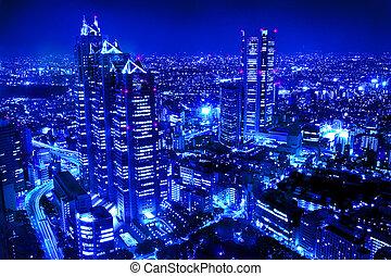 město, večer výjev