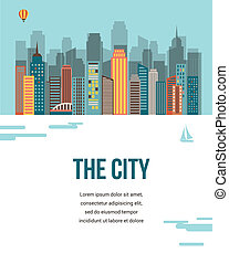 město, -, vektor, grafické pozadí