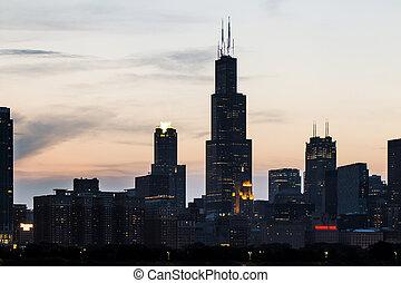 městská silueta, chicago, večer