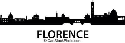 městská silueta, florencie