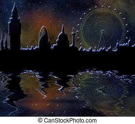 městská silueta, londýn, večer
