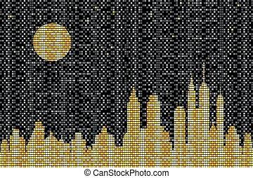 městská silueta, mozaika, večer