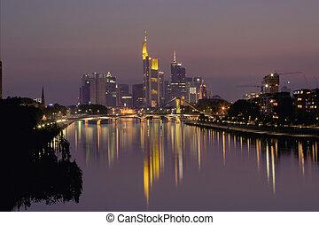 městská silueta, o, párek, v noci