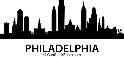 městská silueta, philadelphie