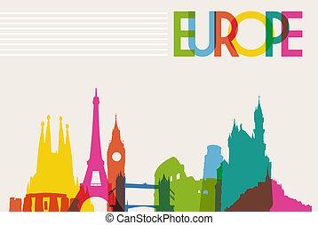 městská silueta, pomník, silueta, o, evropa