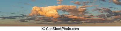 městská silueta, západ slunce, překrásný, -, nebe, panoráma