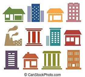 městský, architektura, ikona