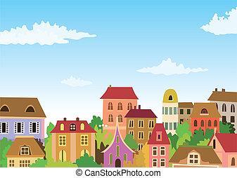 městský, karikatura, dějiště