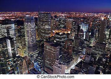 městský městská silueta, anténa, velkoměsto prohlédnout