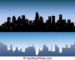 městský, městské siluety, s, odraz