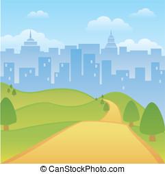 městský, sad, grafické pozadí
