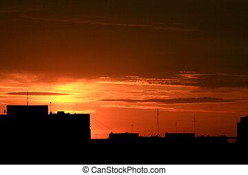 městský, západ slunce