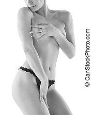 młoda dziewczyna, przedstawianie, w, niejaki, sexy underwear
