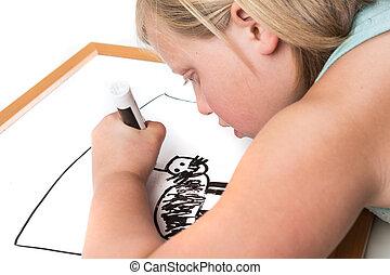 młoda dziewczyna, rysunek, na, niejaki, obeschnięcie wycierają deskę, z, niejaki, markier