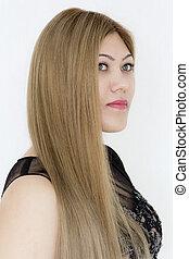 młoda dziewczyna, z, długi, brązowy, zdrowy, włosy