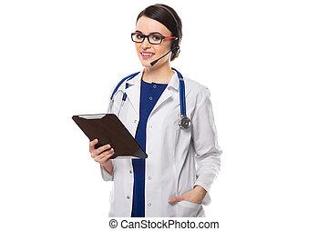 młoda kobieta, doktor z stetoskopem, i, słuchawki, dzierżawa, tabliczka, w, jej, siła robocza, w, biały jednolity, na białym, tło