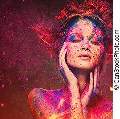 młoda kobieta, dumać, z, twórczy, sztuka ciała, i, hairdo