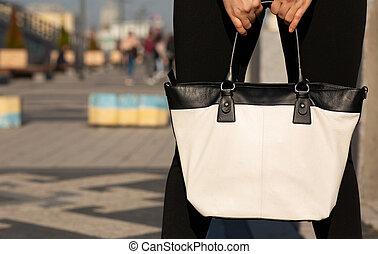 młoda kobieta, dzierżawa, biały, skóra, purse., przestrzeń, dla, tekst