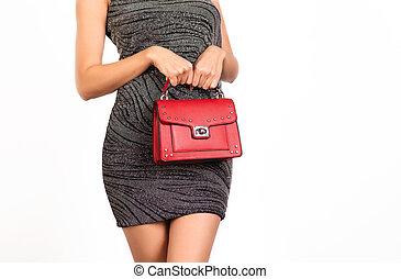 młoda kobieta, dzierżawa, czerwony, skóra, torebka damska, purse.