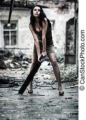 młoda kobieta, fason