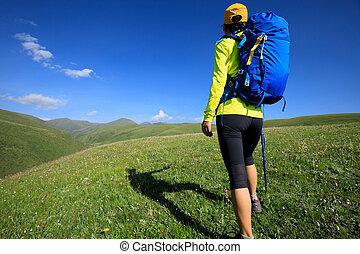 młoda kobieta, hiking, w, grassland, górski szczyt