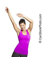 młoda kobieta, odprężając, w, lekkoatletyka, sprzęt, uśmiechanie się