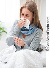 młoda kobieta, posiadanie, niejaki, przeziębienie