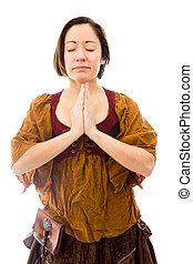 młoda kobieta, reputacja, w, modlitwa położenie