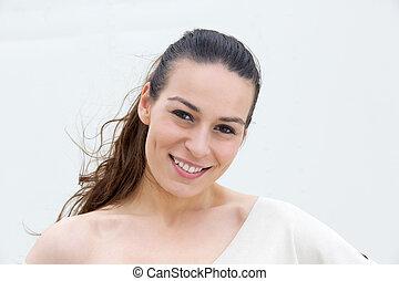 młoda kobieta, uśmiechanie się, na białym, tło
