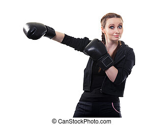 młoda kobieta, w, boks rękawiczki, na, niejaki, białe tło