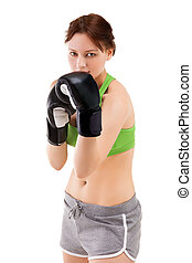 młoda kobieta, w, boks rękawiczki