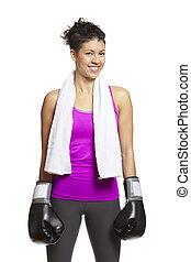 młoda kobieta, w, lekkoatletyka, sprzęt, chodząc, boks rękawiczki