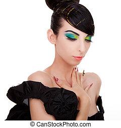 młoda kobieta, wzór, w, niejaki, czarny strój,...