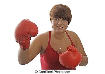 młoda kobieta, z, boks rękawiczki
