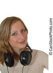młoda kobieta, z, earphones