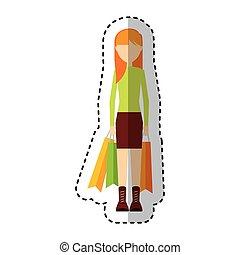młoda kobieta, z, torba na zakupy