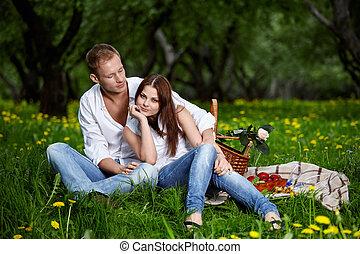 młoda para, na, piknik