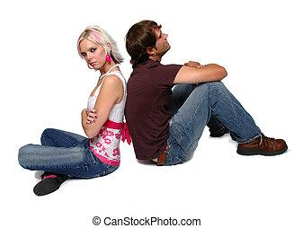 młoda para, posiadanie, walka