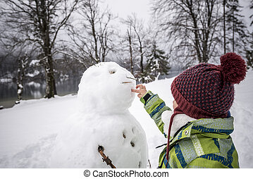 młode dziecko, zrobienie, niejaki, zima, bałwan