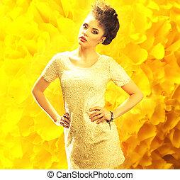 młody, świeży, dama, na, przedimek określony przed rzeczownikami, żółte tło