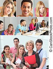 młody adults, w, profesjonalny, trening