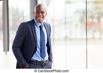 młody, afrykańska amerikanka, biznesmen, w, biuro