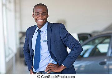 młody, afrykańska amerikanka, wóz dealership, dyrektor