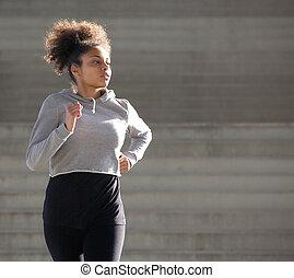 młody, afrykańska amerykańska kobieta, jogging, outdoors