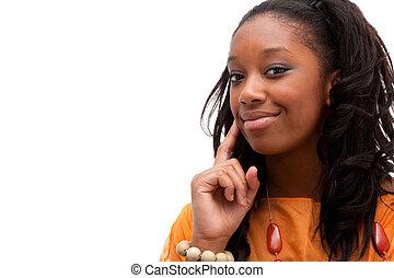młody, afrykańska amerykańska kobieta, uśmiechanie się