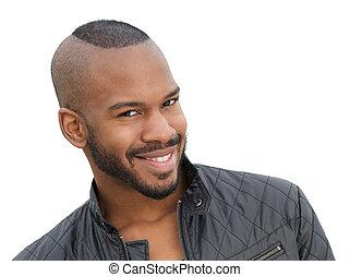 młody, amerykanka, afrykanin, uśmiechanie się, samiec, wzór, przystojny
