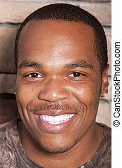 młody, amerykanka, afrykanin, uśmiechnięty człowiek