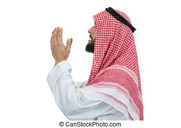 młody, arab, człowiek, od, muslim, zakon, modlący się, odizolowany, na białym, tło