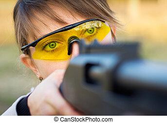 młody, armata, pułapka, dziewczyna, polowanie, okulary